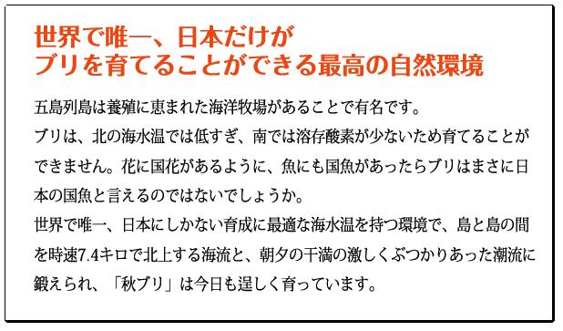 世界で唯一、日本だけがブリを育てることができる最高の自然環境 五島列島は養殖に恵まれた海洋牧場があることで有名です。また、ブリは、北の海水温では低すぎ、南では溶存酸素が少ないため育てることができません。世界で唯一、日本にしかない育成に最適な海水温を持つ環境で、島と島の間を時速7.4キロで北上する海流と、朝夕の干満の激しくぶつかりあった潮流に鍛えられ、「秋ブリ」は今日も逞しく育っています。